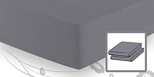 Preisvergleich Produktbild schlafgut Basic Jersey Spannbetttuch / Spannbettlaken 140x200 bis 160x200,  Graphit