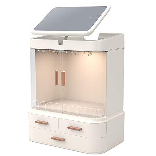 Readaeer-Organizer per Trucco con Specchio a LED, Scatola Cosmetici Trucchi e Gioielli ed Accessori.