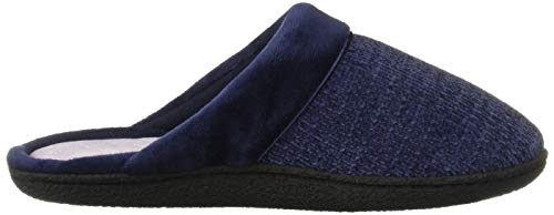 Dearfoams Women's Samantha Knit Closed Toe Scuff Slipper, Peacoat, X-Large