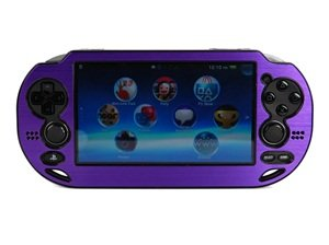Case Star ® Hard Case/Cover plus 1 PCS of LCD Screen Protector for Playstation PS VITA (PCH-1000) (Aluminum-Purple+ Clear LCD Screen Protector)