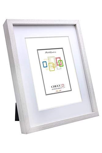 Chely Intermarket, Marco de Fotos 10x15cm (Medida Interior con paspartú 7x10cm) MOD-351 (Blanco) | El Marco Queda al Nivel de la Pared, diseño Elegante (351-10x15-0,25)
