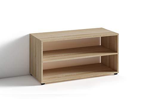 Preisvergleich Produktbild HOMEXPERTS TV Stand VANCOUVER / kleines Regal / Beistelltisch 90 cm breit / Wohnzimmertisch / Schrank / TV Bank / TV Tisch / Sonoma Eichen-Optik Braun / 90 x 45 x 39 cm (BxHxT)