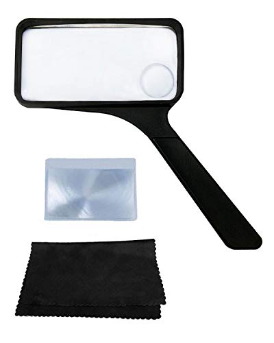 MagDepo Rectangular Handheld Magnifying Glass 3X/5X Scratch Resistant Glass Lens with 1 Bonus Cleaning Cloth & Card Magnifier for Seniors Reading, Hobbies, Repair, and Observation