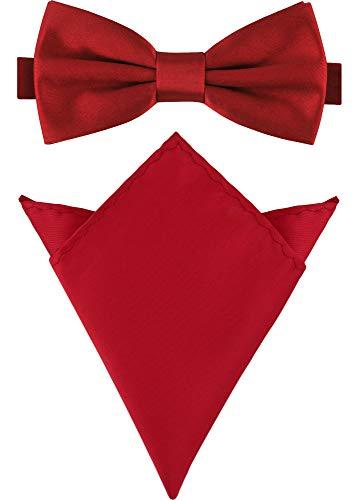 Ladeheid Set Papillon e Fazzoletto Taschino Uomo M/P (12cm x 6cm, 22cm x 22cm, Rosso Scuro)