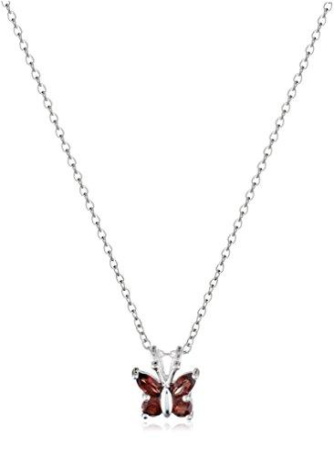 Sterling Silver Genuine Garnet Butterfly Pendant Necklace, 18