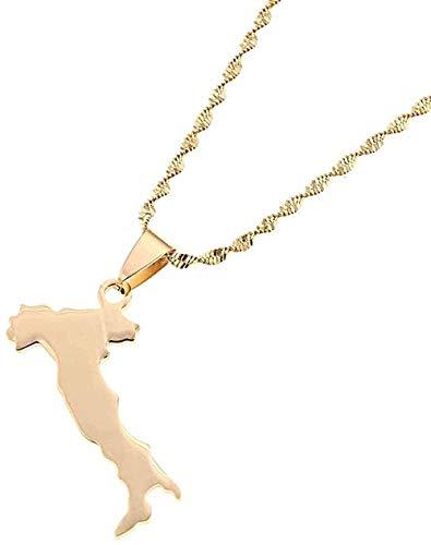 Yiffshunl Collar de Moda Mapa de Acero Inoxidable de Italia Collar con Colgante Cadena de Mapa Italiano de Moda Collar de joyería para Mujer