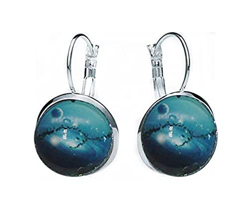 Sunshine Pendientes de aguamarina, adornos de cristal cúpula, regalos para sus pendientes celestiales