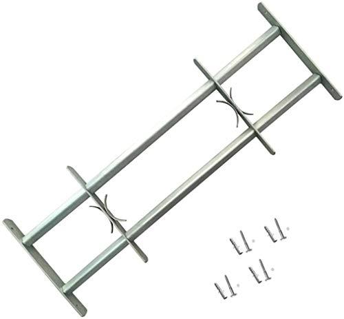 lyrlody- Reja para Ventana de Seguridad, Reja de Seguridad Ajustable con 2 Travesaños en Acero Galvanizado, 500-650 mm