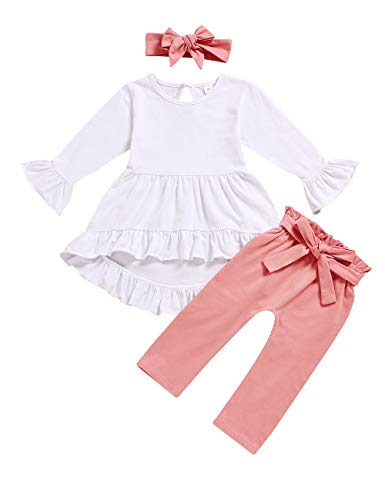 Toddler Girl Clothes Ruffle Flare Tunic Top Long Sleeve Shirt Pants and Headband Fall Winter Outfit Set 2-3 T Pink