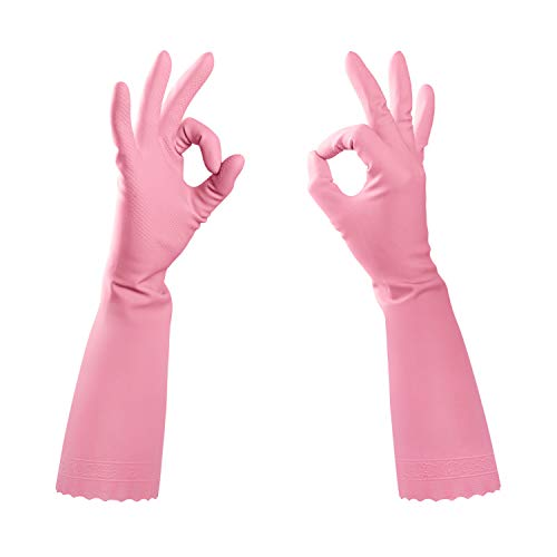 Pacific PPE Dishwashing Gloves Reusable Household Cleaning Gloves,Latex Free Waterproof PVC Gloves for Kitchen,Gardening Gloves Unlined(Pink,Small)