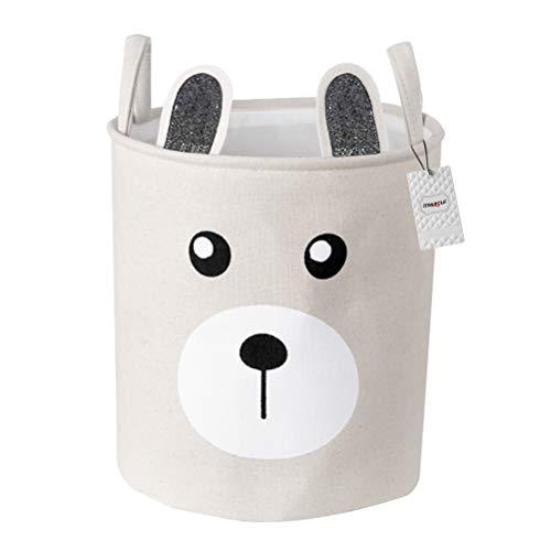 Inwagui Kinder Wäschekorb Wäschesammler Baby Spielzeug Aufbewahrungskorb Faltbare Stoff Runde Haushalt Organizer Korb mit Griffen - Grau Bär