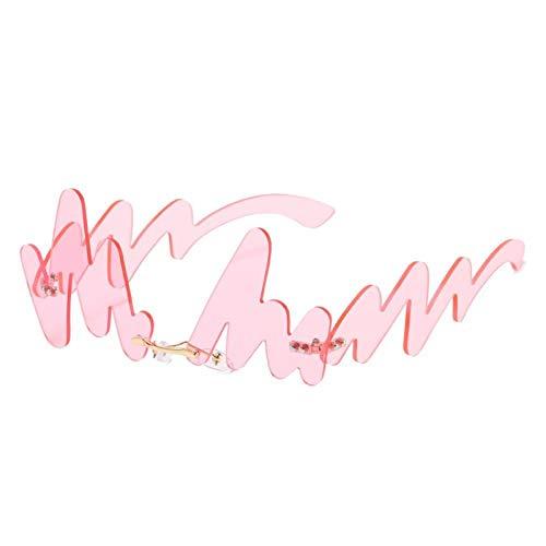 ZZOW Gafas De Sol con Forma De Onda Única A La Moda para Mujer, Gafas De Sol con Lentes Transparentes Sin Montura Vintage para Hombre, Gafas De Sol Irregulares para Hombre, Gafas Uv400