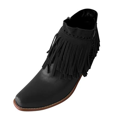 Alwayswin Vintage Blockabsatz Stiefeletten für Frauen Quaste Seitlicher Reißverschluss Casual Booties Einfarbig Elegant Kurze Stiefel Elegant Winterstiefel rutschfeste Lederstiefel