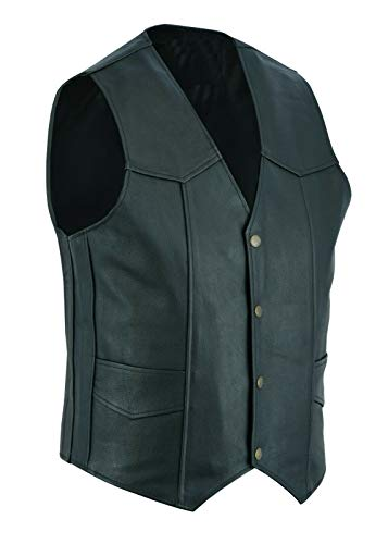 Chaleco de cuero para hombre, estilo de motocicleta y motociclista, color negro con bolsillos laterales