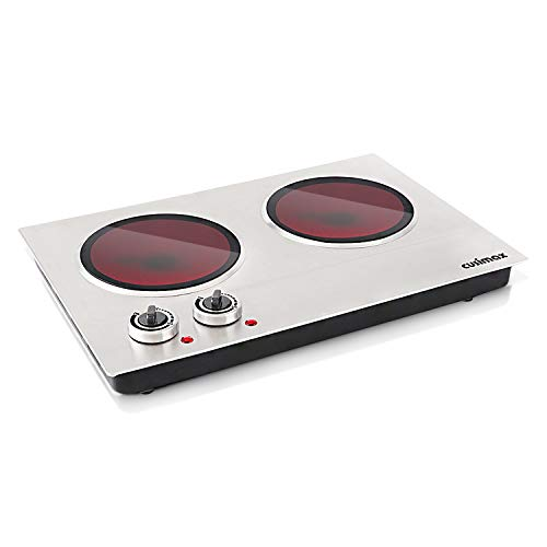 Cusimax Hot Plate Electric Double Burner Ceramic Infrared Portable Burner Heating Plate Portable Indoor & Outdoor Electric Stove 1800W with Adjustable Temperature, Non-Slip Rubber Feet, Stainless Steel Easy To Clean, Upgraded Version