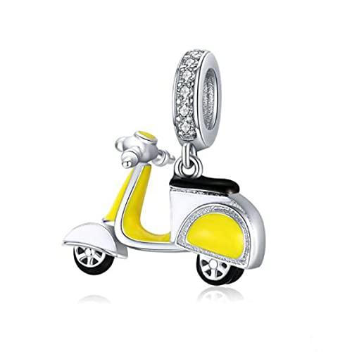 ZiNuo - Abalorio de plata de ley 925 con diseño de «Love to Travel», compatible con pulseras europeas de Pandora, Esmalte Cristal Plata esterlina,