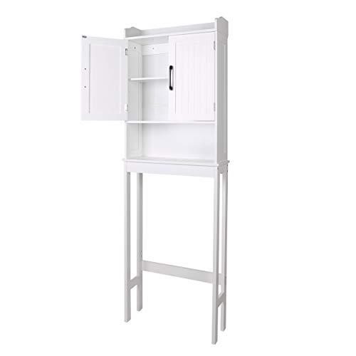 YOUKE armarios de baño Independientes, armarios Altos con 2 Puertas, Mueble Columna de baño Multifuncional con Estante, gabinete de Piso de Madera de Estilo Moderno Blanco 57 x 19 x 170 cm
