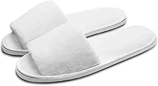 5 pairs Easy To Carry Slippers, Eco-friendly Slippers Of Deluxe Open Toe White Slippers For Spa, Party Guest, Hotel And Travel