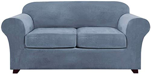 HULG 1,2,3 Seat Stretch Living Room Sofa Cover, with 2 Separate Cushion Covers, Furniture Cover with Elastic Bottom, Non-slip Furniture Protector (Stone blue,2 Seater(122-172cm))