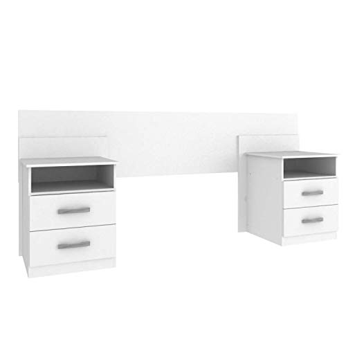 Cabeceira de Casal Extensível com Mesa de Apoio e 2 Gavetas Elegance Espresso Móveis Branco
