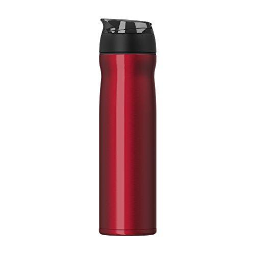Doppelwandige Vakuum Thermosflasche aus Edelstahl - Isoflasche Isokanne mit Teesieb & Deckelfach - 600ml; Rot