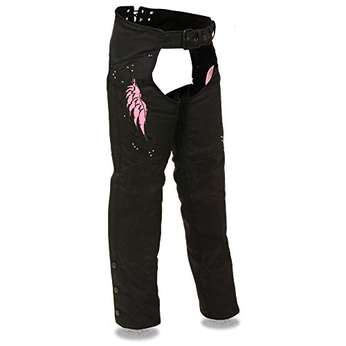 Milwaukee Performance SH1956 Women's 'Winged' Black and Pink Textile Chaps - Large