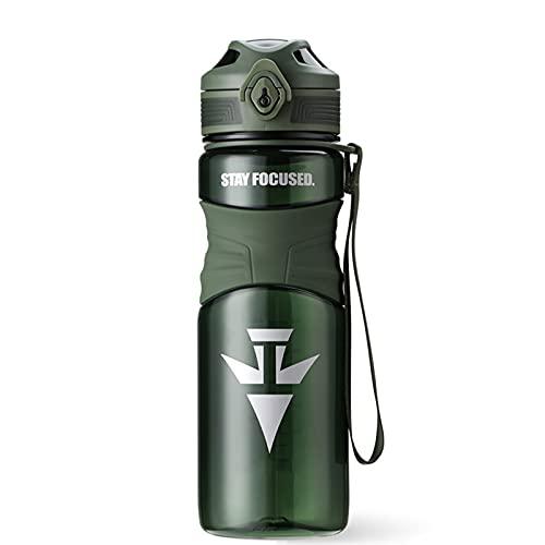 PTHZ Taza de Agua Deportiva, Botella de Agua plástica de tritan portátil, Tapa de la Taza de Rebote Abierto de BPA y de un Solo botón, Adecuado para Fitness y Ciclismo, 600 ml,Verde