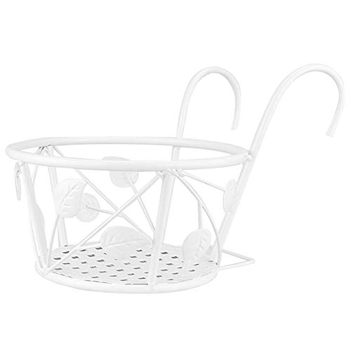 Coomir Over Rail Hanging Planter Holder Balcony Rails Wall Iron Pots Holder B White