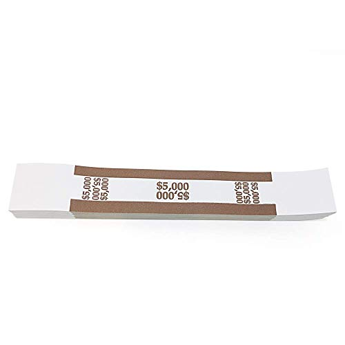 Pack of 100 - $5000 Currency Band Self Sealing, Currency Straps Bands Money Bill Band Strap, 7.5 x 1.15 Inches (Brown)