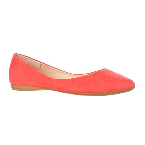 Riverberry Women s Ella Basic Closed Pointed Toe Ballet Flat Slip On Shoe  Coral Pink Suede  8