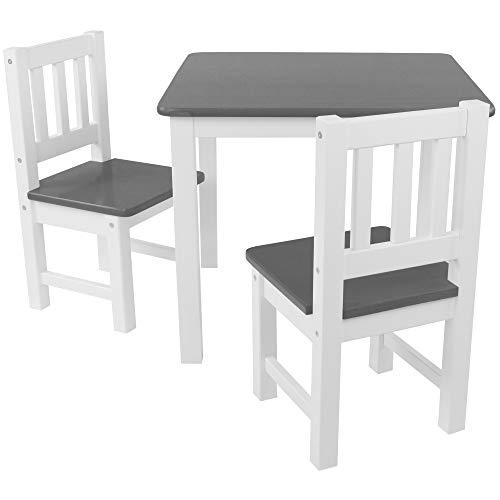 DILUMA Kindersitzgruppe 3-TLG - Kindertisch mit 2 Stühlen in Grau Weiß - Kinderzimmer Möbel für Kleinkinder, Mädchen & Jungen - Kindertischgruppe mit abgerundeten Ecken und Kanten