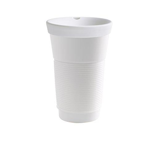 Kahla cupit Becher 0,47 l mit Trinkdeckel in transparent, Coffee to Go Mug aus Porzellan mit innovativer Magic Grip Beschichtung, Pro Öko, 10 x 6 x 16.7 cm