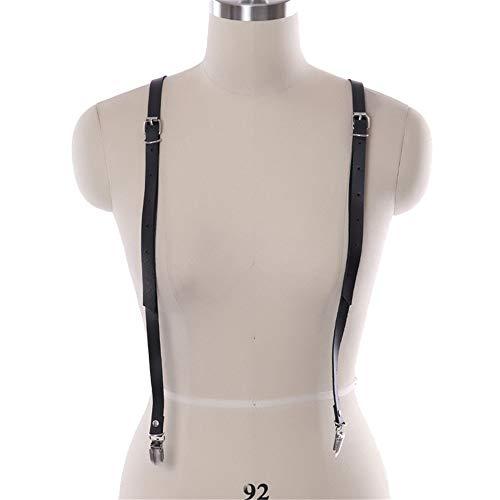 MxZas Riemchen Harness Crop Top Frauen-Körper-Chest Harness Punk PU-Leder Verstellbarer Fancy Gürtel Schultergurt Straps-Strumpfgürtel mit Zahnspange Zubehör (Color : Black, Size : Free Size)