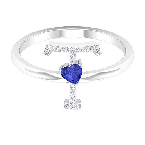Rosec Jewels 14 quilates oro blanco corazón redonda Blue Tanzanite Diamond