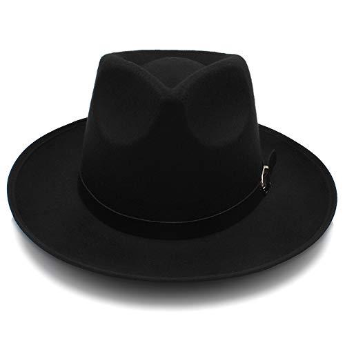 SSLA 2018 Mode Unisex Damen Herren Klassische Breite Krempe Sonnenhut Feodora Hüte Panama Cap (Farbe : Schwarz, Größe : 56-58cm)