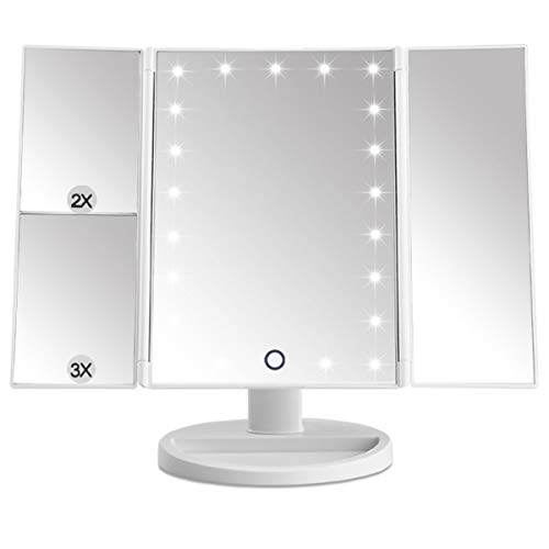 EMOCCI LED Makeup Mirror 21 Led Lighted Vanity Mirrors Tri Fold Adjustable with 3X 2X Magnification 180 Degree Rotation USB Charging for Travel Table Countertop Bathroom with Gift Box(White)