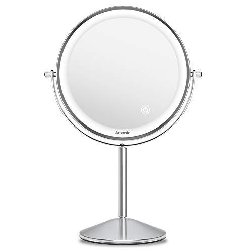 Auxmir Specchio Trucco con Luci, Specchio da Tavolo Bifacciale con Ingrandimento 10X/1X, 3 Coroli di Luce, Luminosità Regolabile, Rotazione a 360°, Ideale per Trucco, Rasatura, Cura del Viso