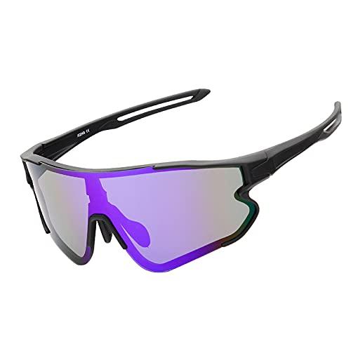 YHSW Gafas de Sol Deportivas polarizadas,Gafas 400 Resistentes a los Rayos UV,con 2 Juegos Lentes Intercambiables,Deportivas,adecuadas para Hombres y Mujeres Que corren,andan en Bicicleta,pescan