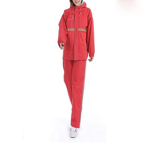 Camouflage Poncho Suit Outdoor Adult Waterproof Men and Women Raincoat Rain Pants Suit Split Rain Gear Set Package Mail, XL,Red