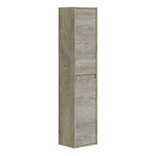 Columna de Baño Suspendido 2 Puertas, Mueble Lavabo, Modelo Dakota, Acabado en Color Roble Alaska, Medidas: 30 cm (Largo) x 140 cm (Alto) x 25,5 cm (Fondo)