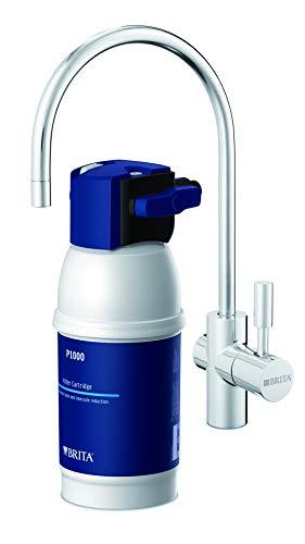 BRITA mypure P1 - Grifo de Agua con Filtro para 12 Meses - Sistema de filtrado, Reduce cal, cloro, metales, Acero Inoxidable, Plateado