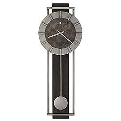 Howard Miller Oscar Wall Clock 625-692 – Rectangular Aged Silver Metal Frame with Satin Ebony Panel Home Decor, Pendulum & Quartz Movement