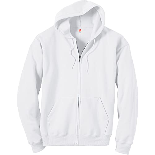 Hanes Men's Full-Zip Eco-Smart Hoodie, white, Medium