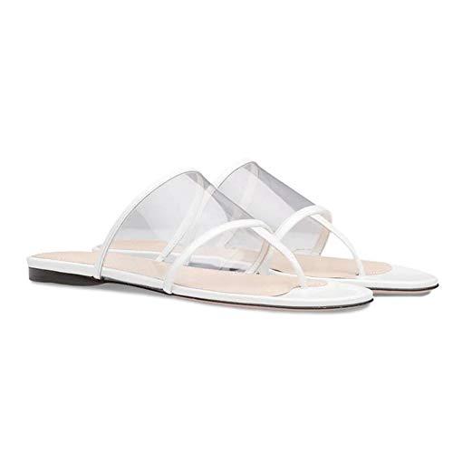 Sandalias de mujer, Plataforma sexy de punta abierta de verano Anchas sandalias planas transparentes Bohemia Zapatilla de playa Jardín de verano Chanclas para niña Vacaciones