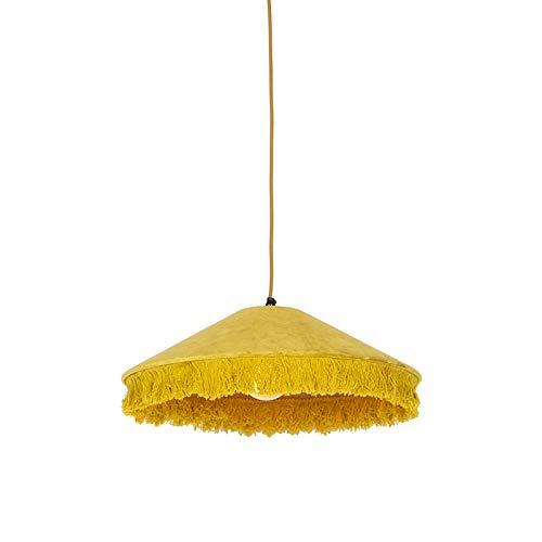 QAZQA Art Déco Lámpara colgante retro terciopelo amarillo flecos - FRILLS Textil/Acero Alargada/Redonda Adecuado para LED Max. 1 x 25 Watt