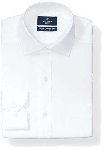 Buttoned Down Tailored Fit Spread-collar Stretch Non-iron Dress Shirt Smoking Hemd, Weiß (white), 17