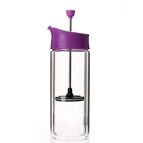 SongMyao Kaffeepressen Double-Layer-Glasfilterpresse Cup Französisch Presse-Topf for Küche Büro Home Use Filterpressekanne (Color : Purple, Size : 400ml)