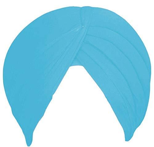 Sikh Cotton Turban for Men - Sky Blue Color - Double Stitched Punjabi Pagri - 8 Metre