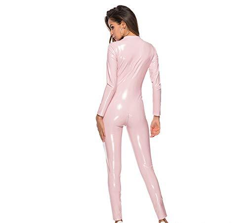 NNWFrauen Sexy Leder Overalls, Kunstleder Wet Look Reißverschluss Catsuit Nachtclub DS Dance Kunstleder Motorradkleidung Overall,Pink,S