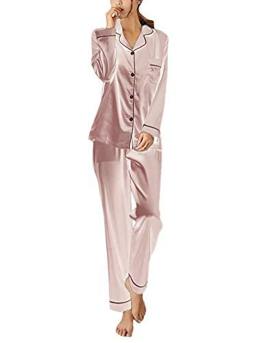 ORANDESIGNE Pijama de Seda de Dos Piezas para Las Mujeres Primavera Otoño Suave Cómodo Conjunto de Pijamas de Satén Homewear Sleepwear Tops + Pantalones Largos